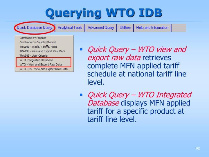 Querying WTO IDB