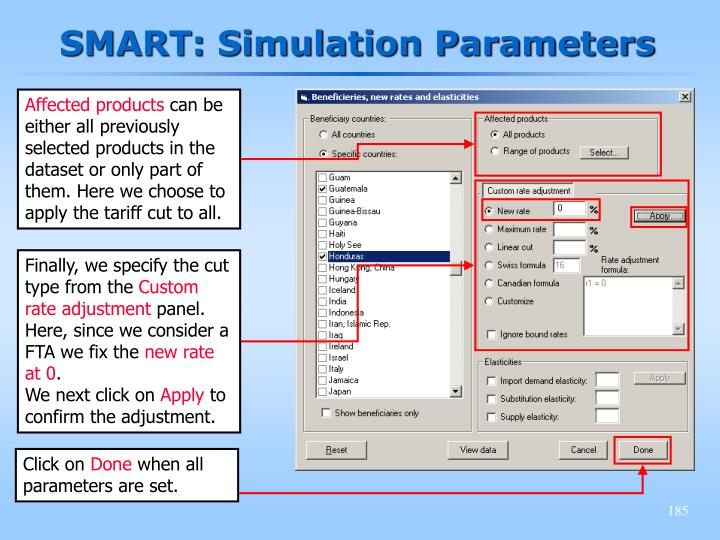SMART: Simulation Parameters