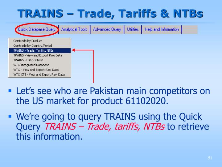 TRAINS – Trade, Tariffs & NTBs