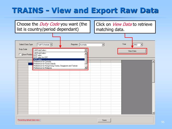 TRAINS - View and Export Raw Data