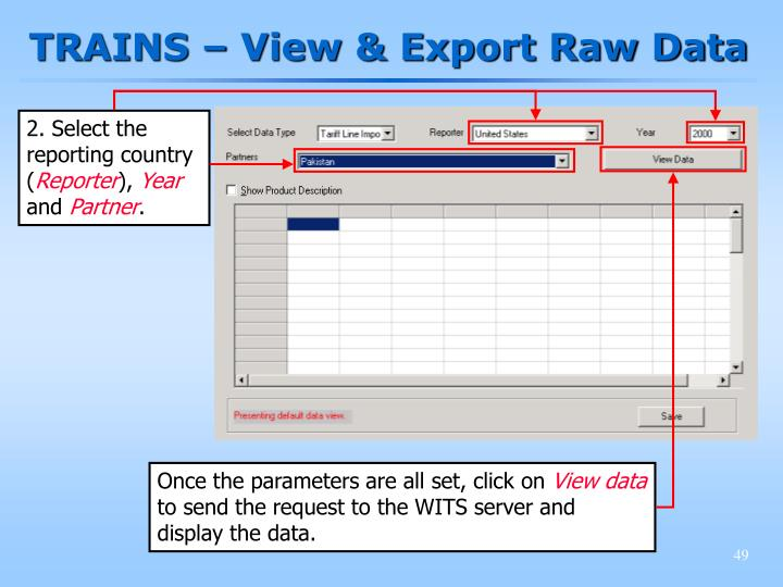 TRAINS – View & Export Raw Data