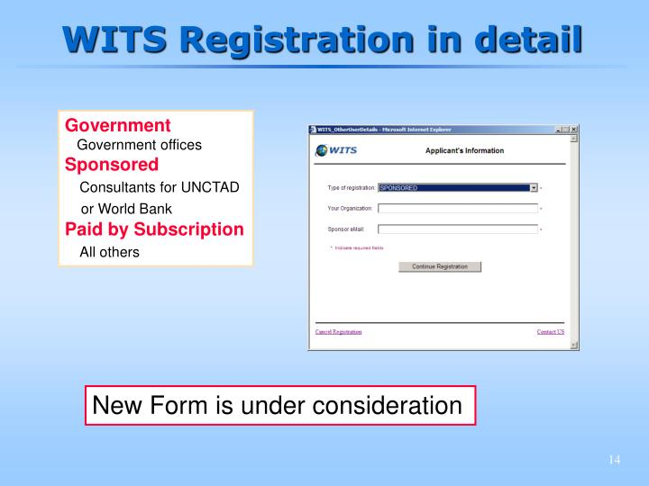 WITS Registration in detail