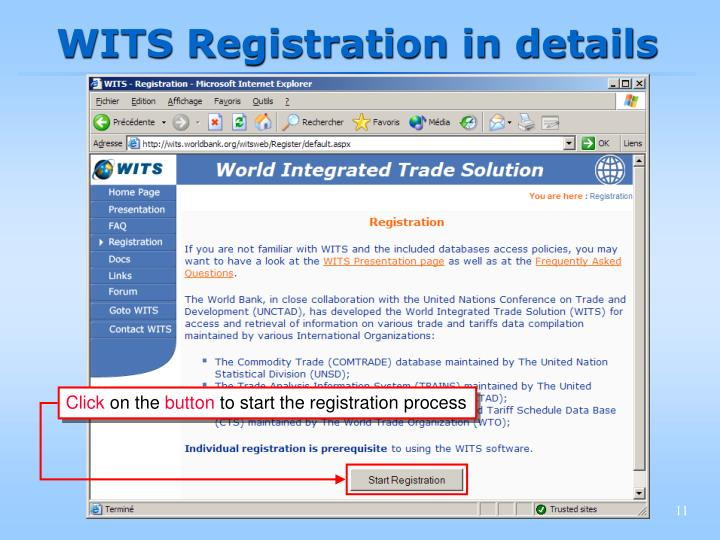 WITS Registration in details