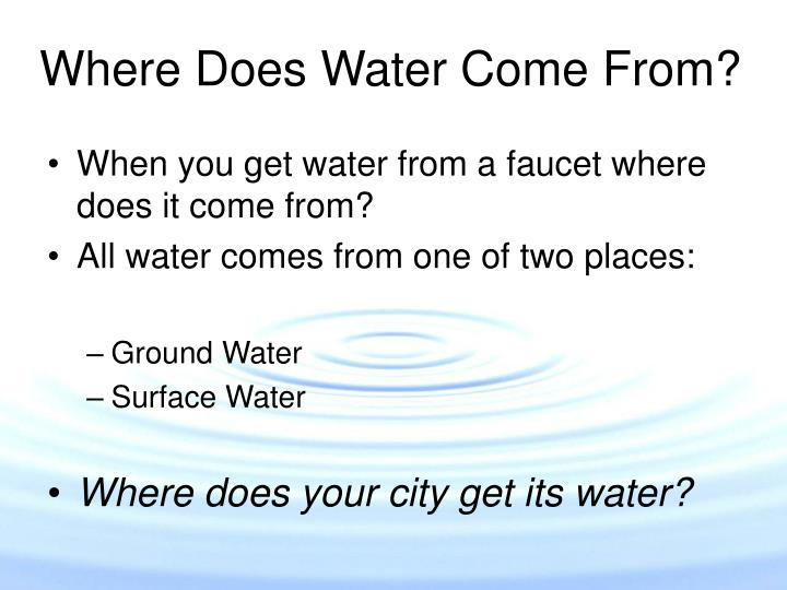 Where does water come from l.jpg