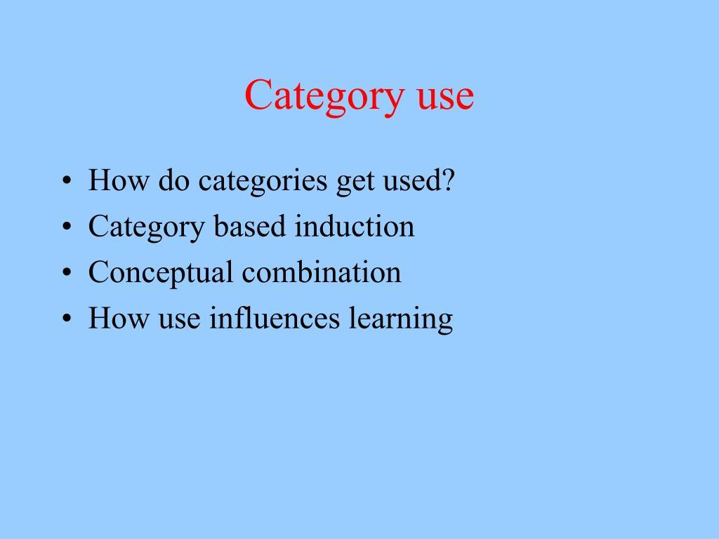 Category use