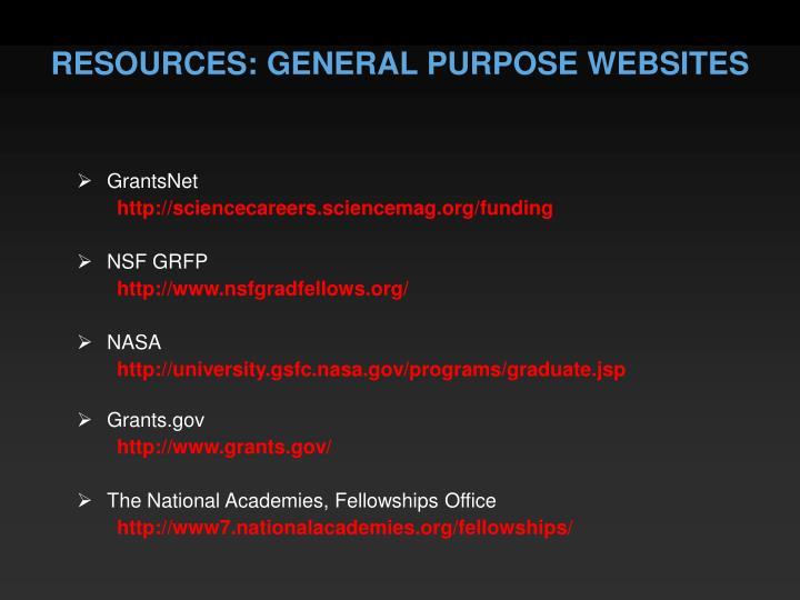 RESOURCES: GENERAL PURPOSE WEBSITES