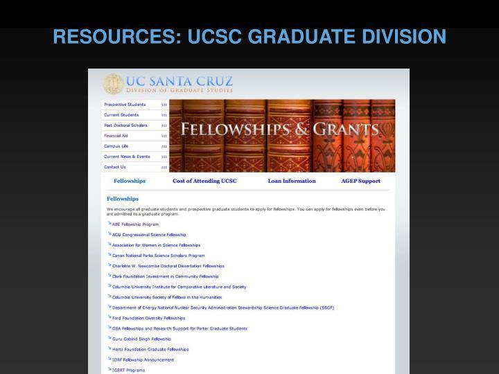 RESOURCES: UCSC GRADUATE DIVISION