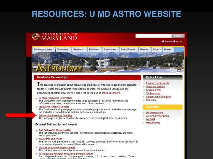 RESOURCES: U MD ASTRO WEBSITE