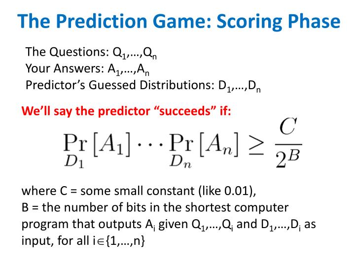 The Prediction Game: Scoring Phase