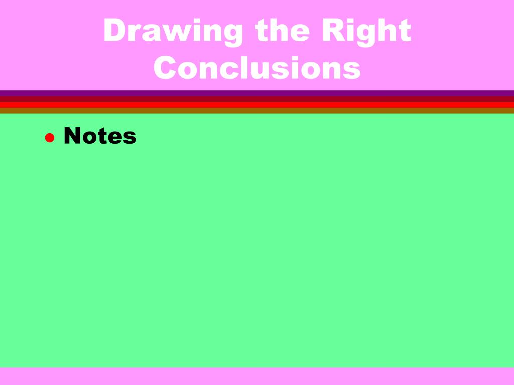 Drawing the Right Conclusions