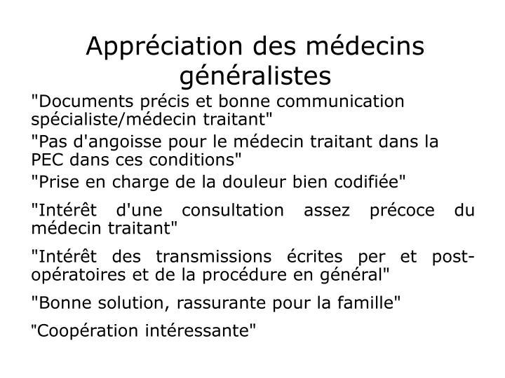 Appréciation des médecins généralistes