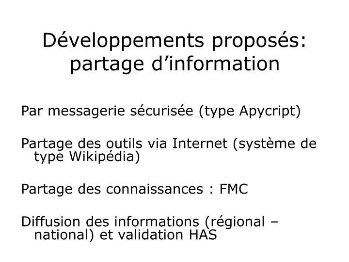 Développements proposés: partage d'information