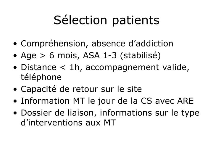 Sélection patients