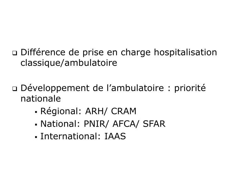 Différence de prise en charge hospitalisation classique/ambulatoire
