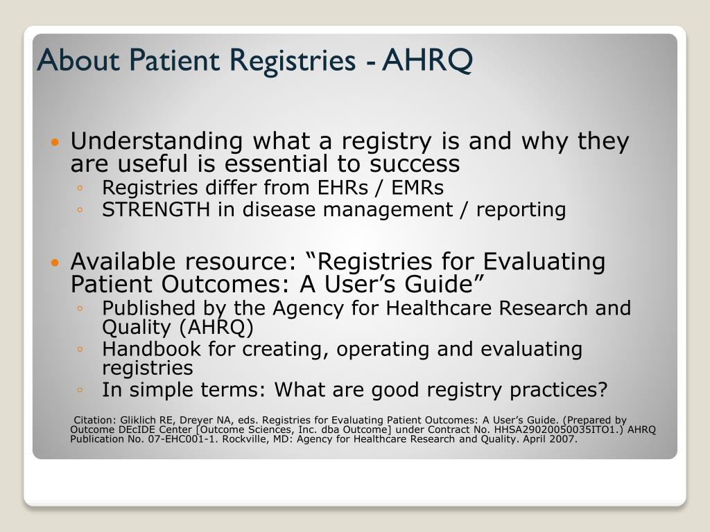 About Patient Registries - AHRQ