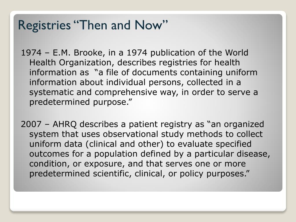 "Registries ""Then and Now"""