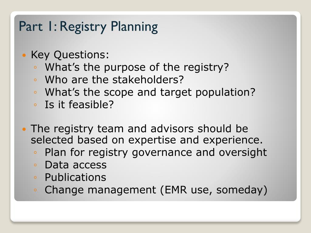 Part 1: Registry Planning