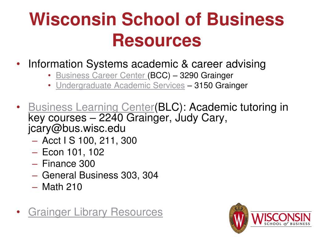 Wisconsin School of Business Resources