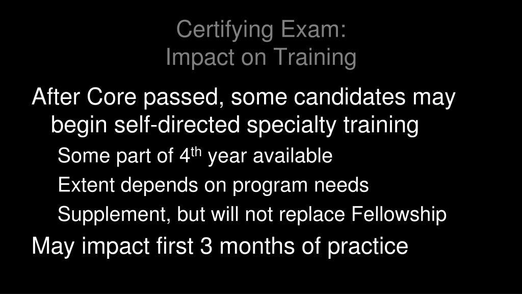 Certifying Exam: