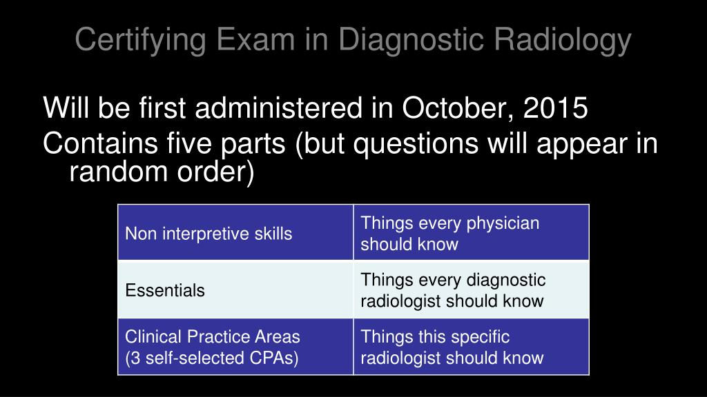 Certifying Exam in Diagnostic Radiology