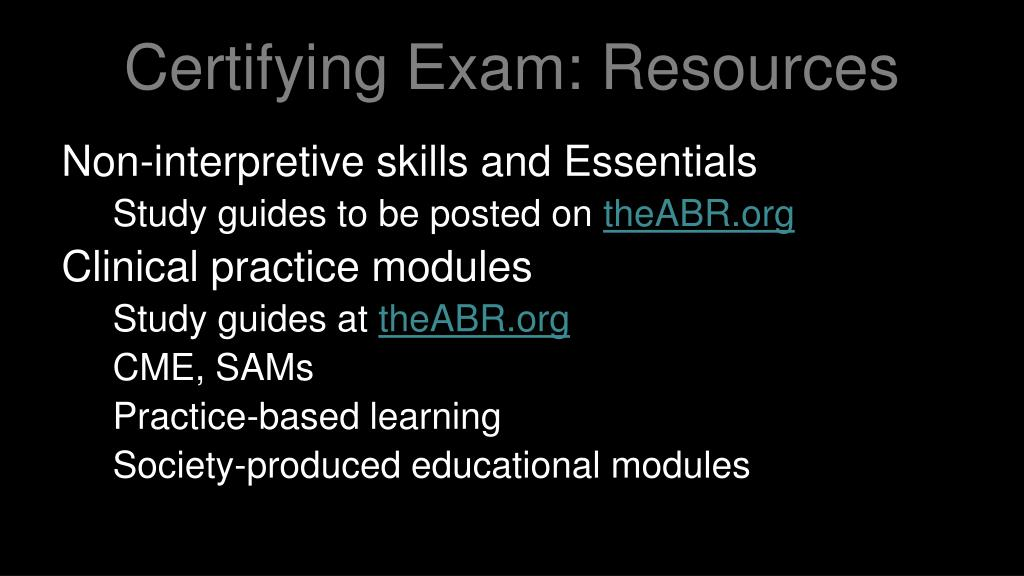 Certifying Exam: Resources