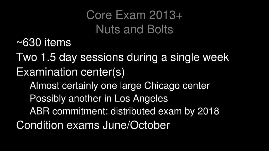 Core Exam 2013+