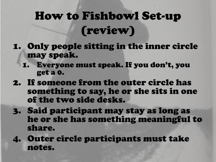 How to Fishbowl Set-up (review)