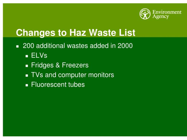 Changes to Haz Waste List