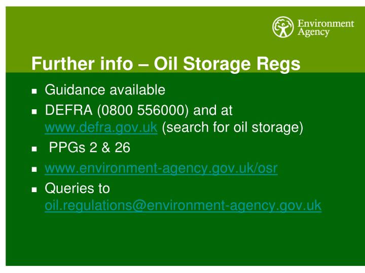 Further info – Oil Storage Regs