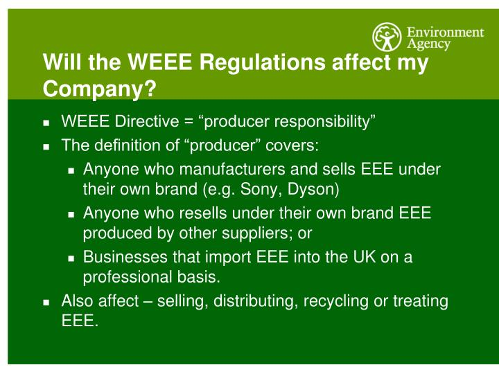 Will the WEEE Regulations affect my Company?