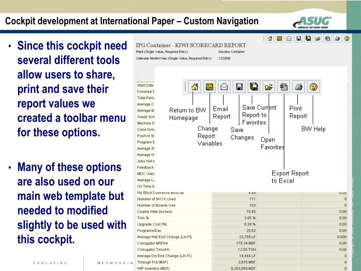 Cockpit development at International Paper – Custom Navigation