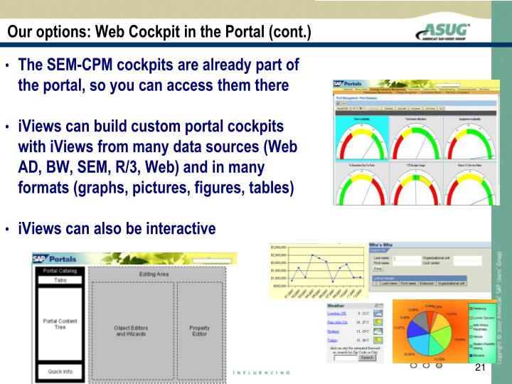 Our options: Web Cockpit in the Portal (cont.)