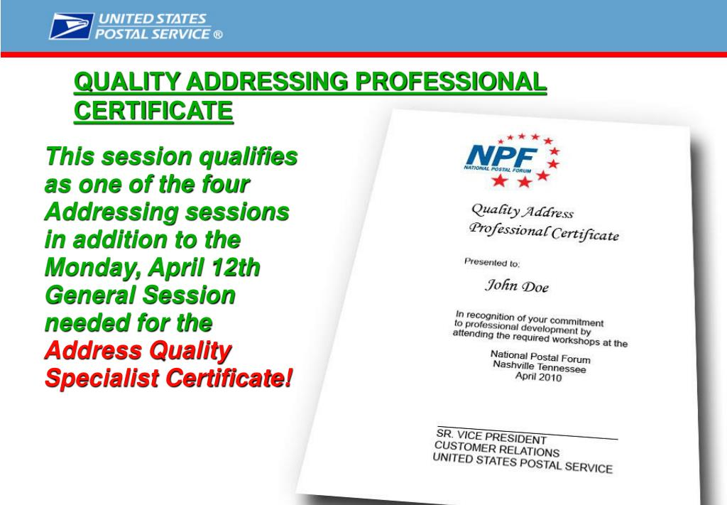 QUALITY ADDRESSING PROFESSIONAL CERTIFICATE