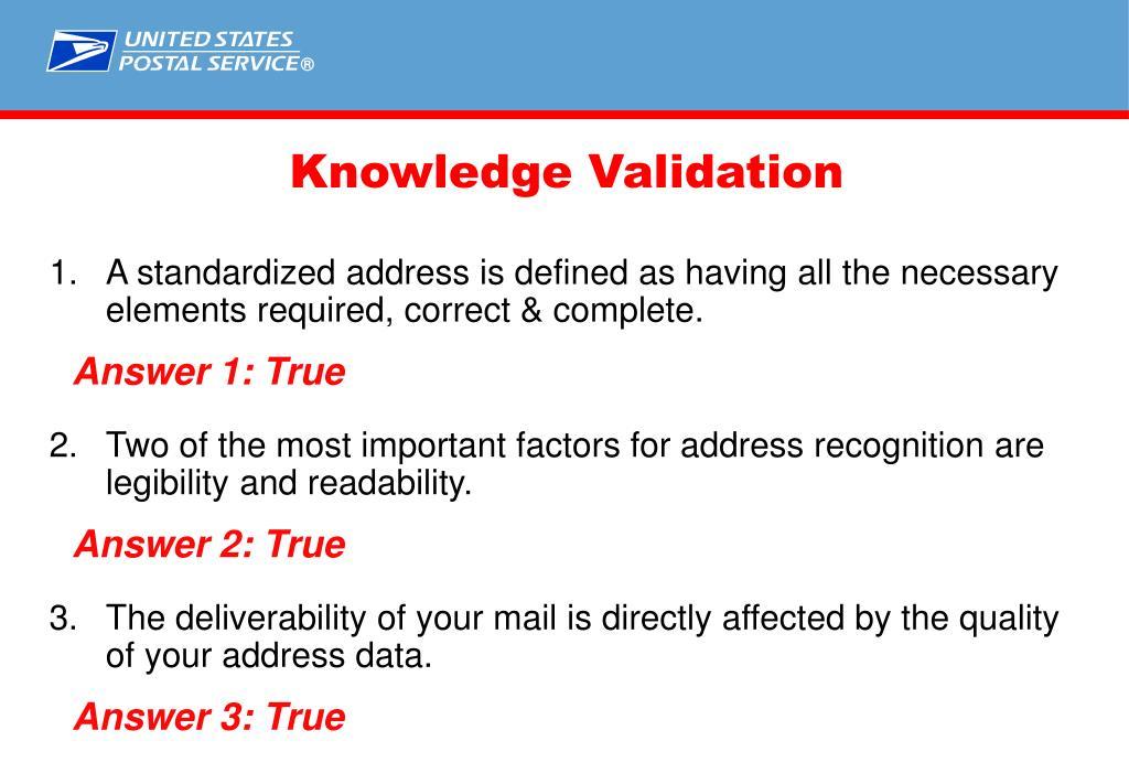 Knowledge Validation