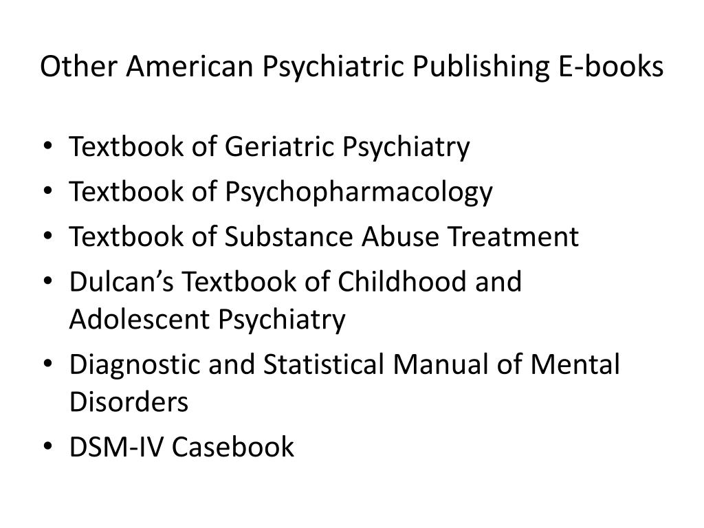 Other American Psychiatric Publishing E-books