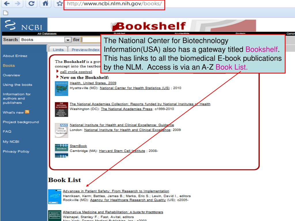 The National Center for Biotechnology Information(USA) also has a gateway titled