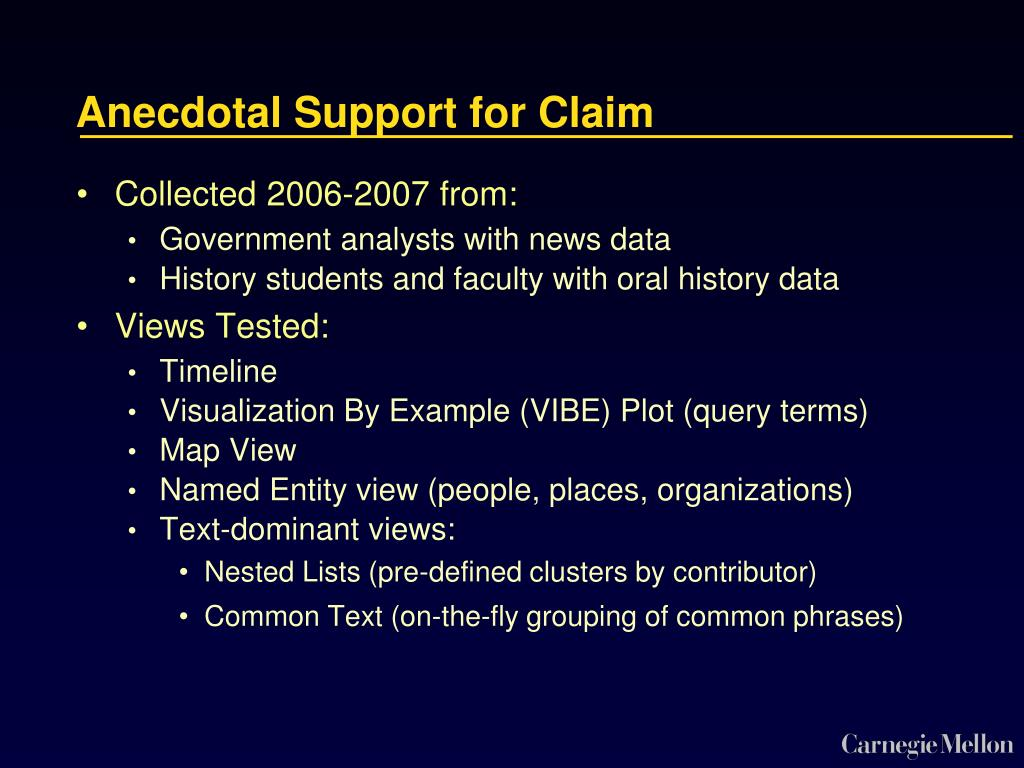Anecdotal Support for Claim