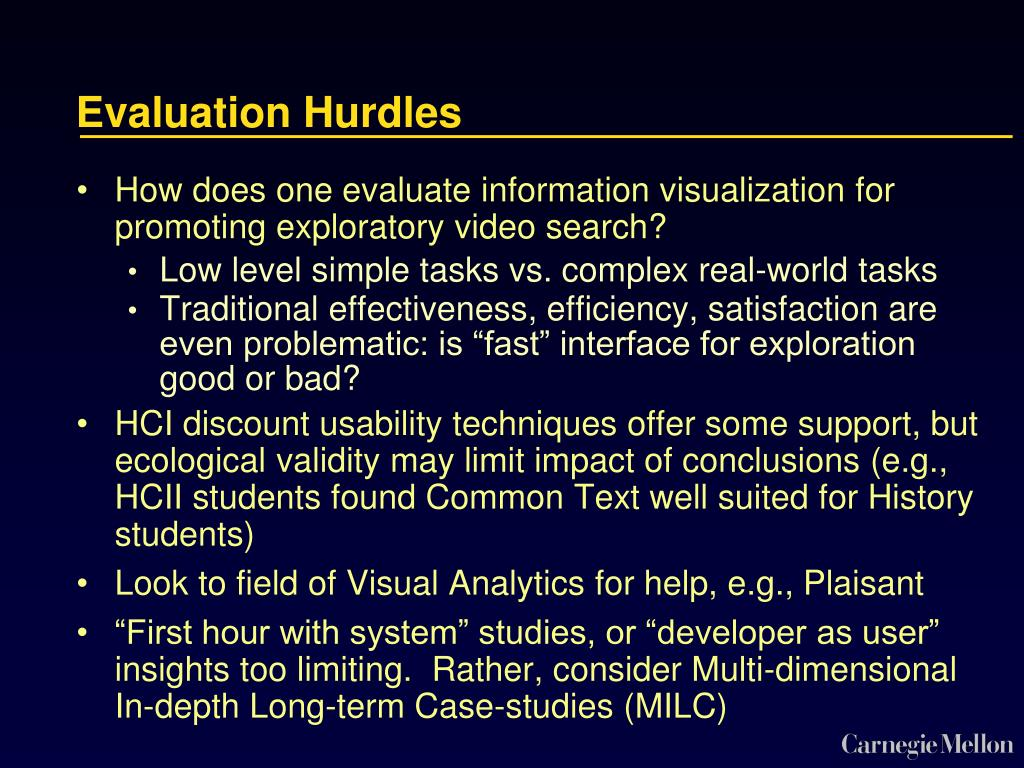 Evaluation Hurdles