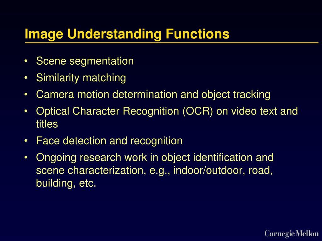 Image Understanding Functions