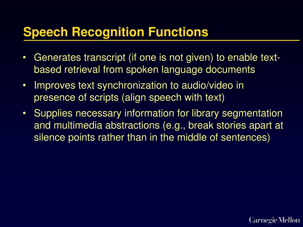 Speech Recognition Functions