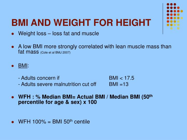 BMI AND WEIGHT FOR HEIGHT