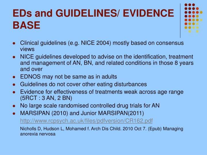 EDs and GUIDELINES/ EVIDENCE BASE