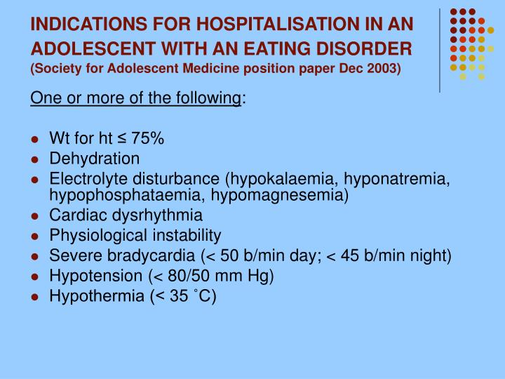 INDICATIONS FOR HOSPITALISATION IN AN ADOLESCENT WITH AN EATING DISORDER