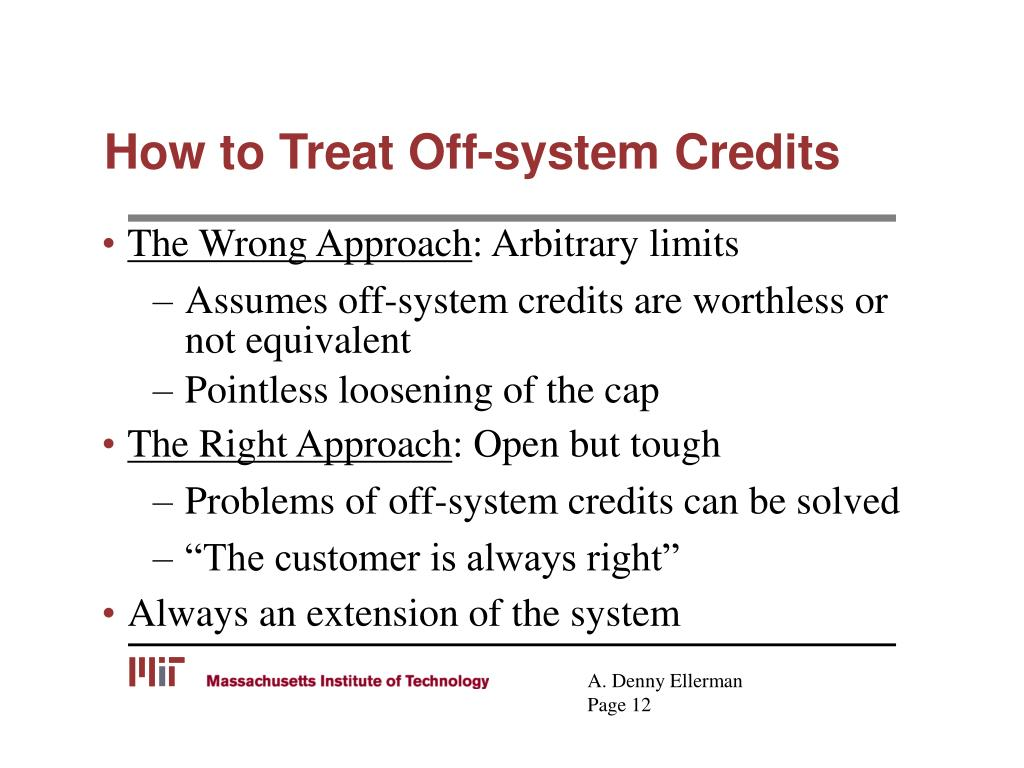 How to Treat Off-system Credits