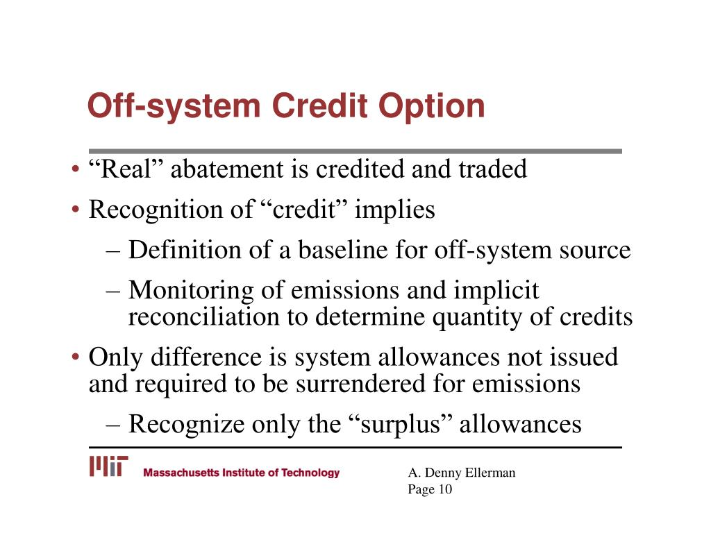 Off-system Credit Option
