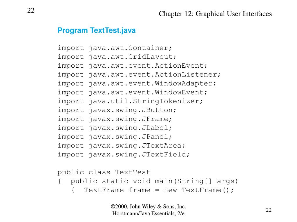 Program TextTest.java