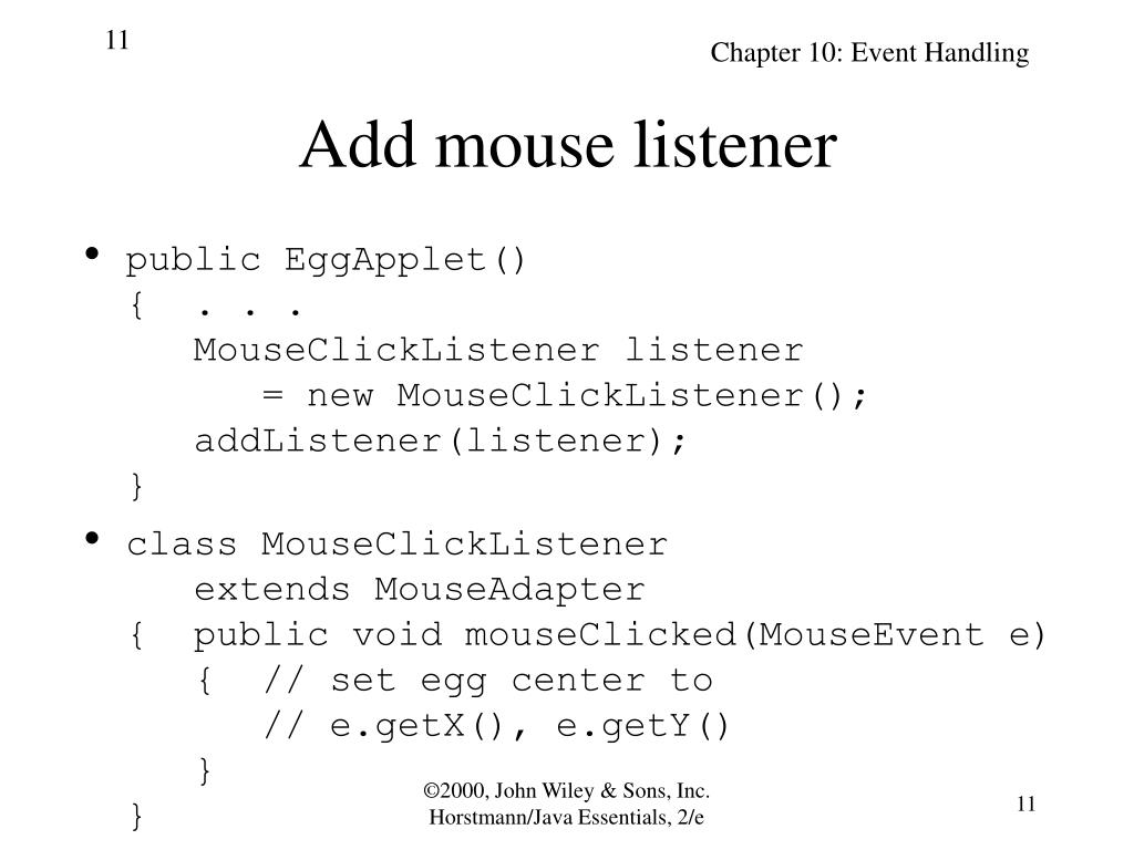 Add mouse listener