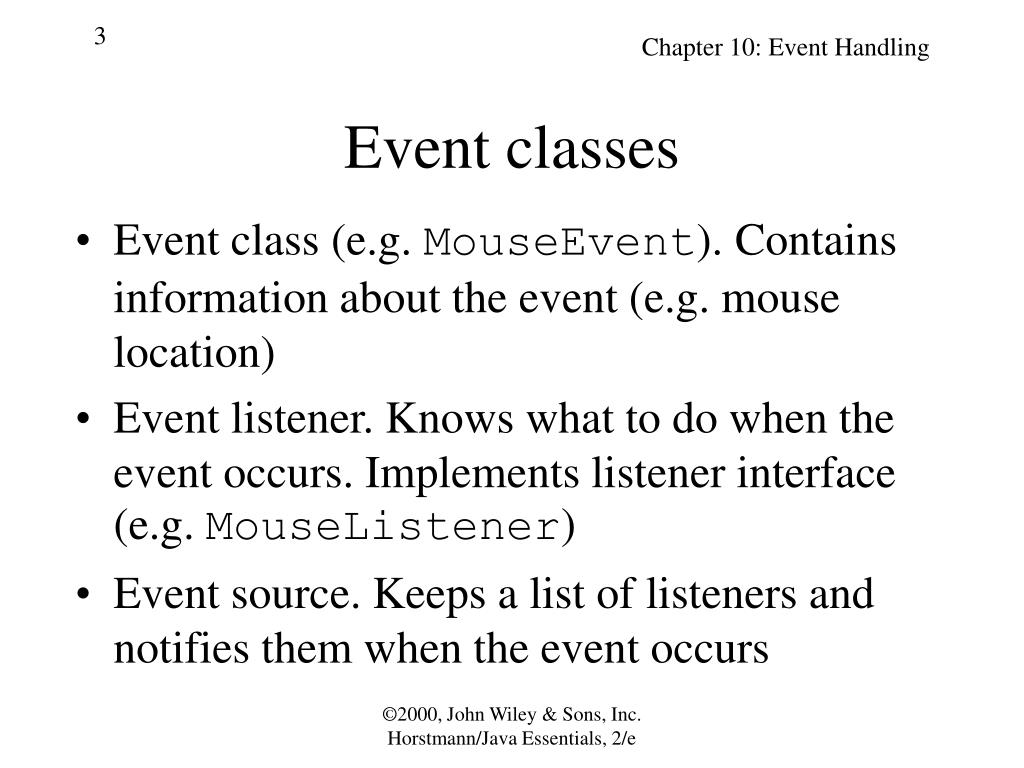 Event classes