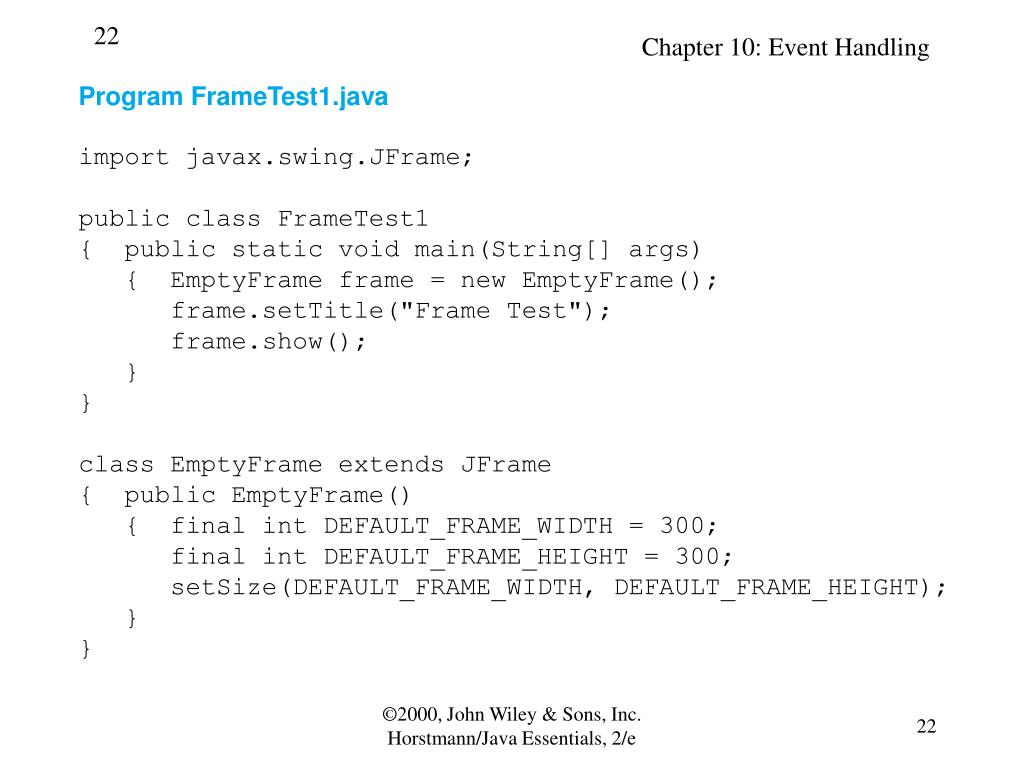 Program FrameTest1.java