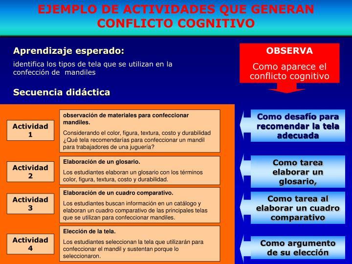 EJEMPLO DE ACTIVIDADES QUE GENERAN CONFLICTO COGNITIVO